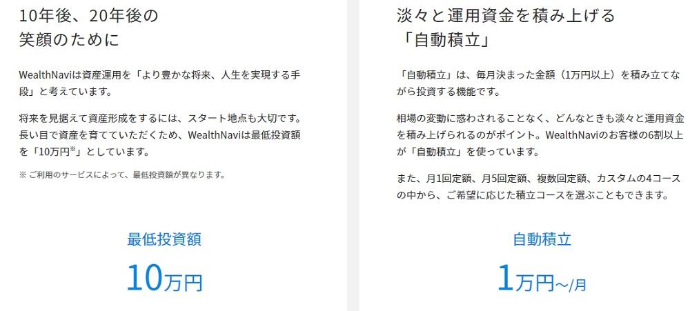 最低投資額WealthNaviは10万円から